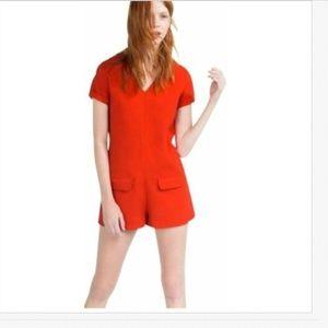 Zara S Red Playsuit Shorts Romper Jumpsuit Pockets